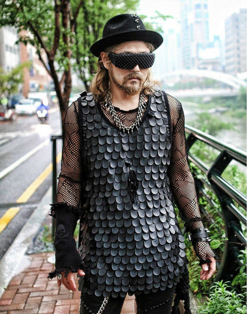 Men 39 s fashion fish scale design retro punk tank vest for Fish scale shirt