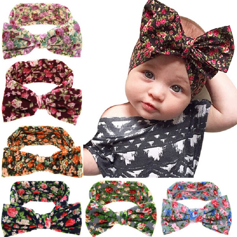 Baby Cotton Headband Girls Knotted Head Wraps Knit flower Headwraps Headbands for Infant Toddler Hair Accessories 1pc HB508(China (Mainland))