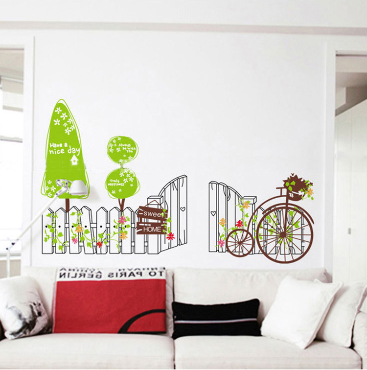 Real Green Fence Cycling Wall Stickers Diy Sweet Home