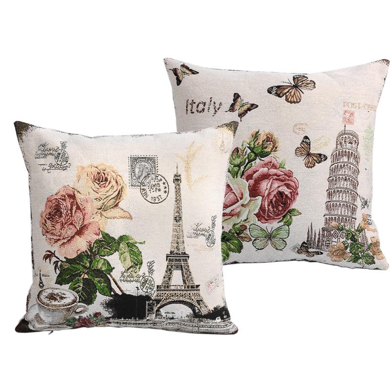2pcs/lot France Eiffel Tower Paris Vintage Style Sofa Cushion Covers Knitted Car Throw Pillow Case Square 45cm*45cm Bulk Price(China (Mainland))