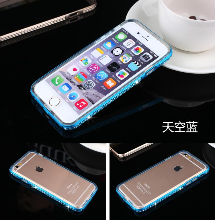 For Apple iPhoneSE 5 5S 6 6S 6plus 6Splus Phone i5 i6Case  Bling Diamond Metal Aluminum  metal frame + TPU i6S4.7 5.5 Soft Shell