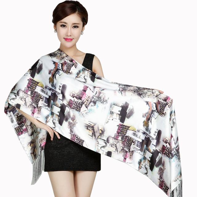 Горячие продажи double face женщин шелковый шарф новый дизайн бренда платки печати ...