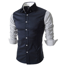 2016 New Fashion Long Sleeve Striped Patchwork Shirt Men Casual Slim Fit Camisa Social Masculina Mens Dress Shirts 13M0196 - BlackDuck Store store