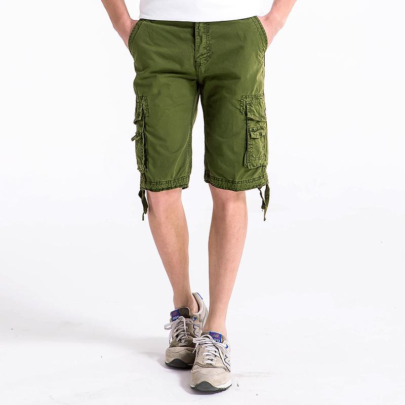2017 Top Fashion Calf-length Mens Cargo Shorts Solid Outdoor Multi-pocket Men Short Pants Khaki Red Sky Blue Orange Black Purple(China (Mainland))