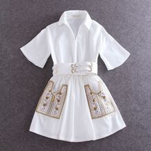S-XL 2016 new brand casual embroidery patchwork double pocket flare sleeve turn down collar slim women dresses with belt female(China (Mainland))