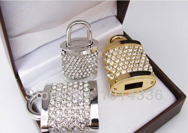 real capacity golden jewellery crystal element lock model USB 2.0 1GB 4GB 8GB 16GB 32GB Memory Stick Flash Drive S55 DD(China (Mainland))
