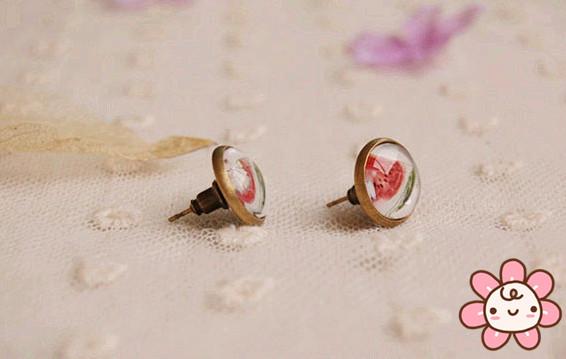 Woman lady cute Fashion Earrings Retro vintage lovely Studs Earring Jewelry trendy glass Earrings Ear Accessory Brincos Pendient