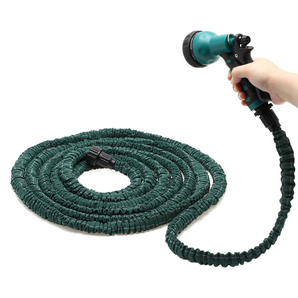 E support Dark Green Spray Gun Car Washer Magic Flexible Expandable Nozzle + Anti-wear Water Hose 25/50/75/100Ft XY01(China (Mainland))