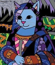 Modern Canvas Pop Art Hand Painted oil Painting Mona Cat oLo PP014(China (Mainland))