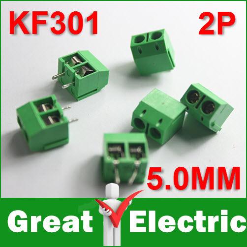 "100PCS KF301-2P KF301-5.0-2P KF301 ""+""Screw 2Pin 5.0mm Straight Pin PCB Screw Terminal Block Connector Free Shipping #CGKCH107(China (Mainland))"