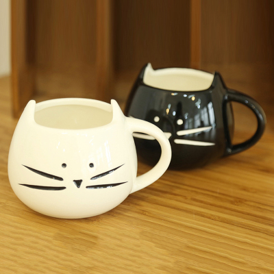 Lover's Creative Gift Black And White Cat Cute Coffee Mugs Ceramic Couple Cups For Coffee Milk Tea(China (Mainland))