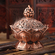 7 cm Height Tibetan Lotus Incense Burner Alloy Bronze Mini Incense Burner Metal Craft Home Decor Free Shipping 3 Colors (China (Mainland))