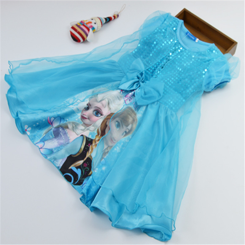 2015 hot Girls Dresses Vestidos Elsa Dress Kids Snow Costume Children Clothing Summer Girl Lace Dress Princess Anna Party Dress(China (Mainland))