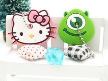ZOEBER 2 PCS bonito Dos Desenhos Animados Anime chaveiro tampa chave tampa do teclado de Silicone mulheres olá kitty Anel Minnie carro Garfield Keychain(China)