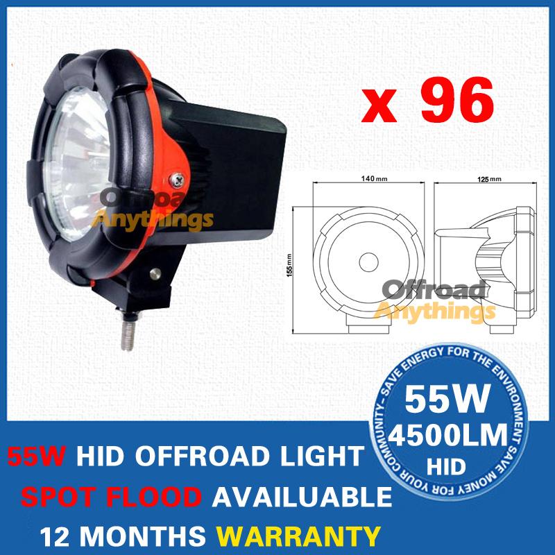 "96Pcs 12V 55W 4"" Spot Beam truck/Boat fog lamp ,hid driving light ,HID off road light,hid xenon work light(China (Mainland))"
