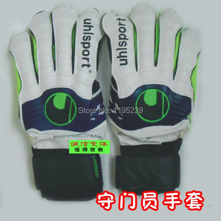 Uhlsport goalkeeper gloves lungmoon gloves professional finger belt gloves Free shipping size 8,9,10(China (Mainland))