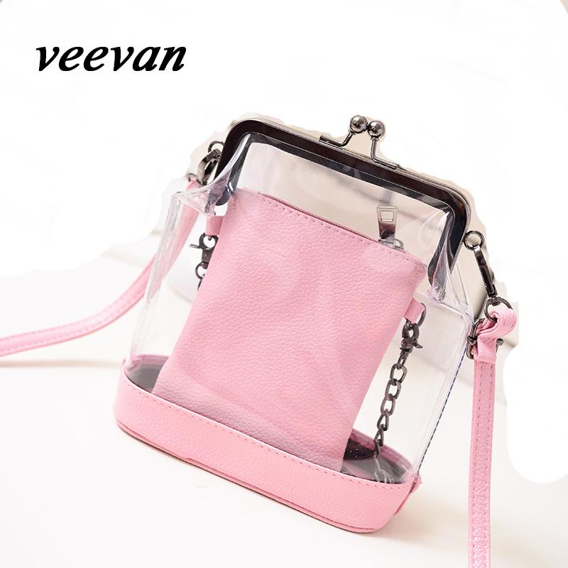 Veevan 2016 Hot Fashion Women Clear Transparent Handbag Vintage Sweet Jelly Summer Beach Bag Candy Color Women Messenger Bag(China (Mainland))