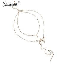 Simplee luna De Oro collares y colgantes de cadena de Dos piezas de collar de la joyería fina Larga de la vendimia ropa de mujer accesorios(China (Mainland))