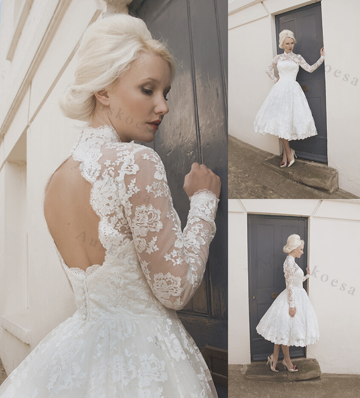Hotchinahot sale 2015 high neck wedding dress sheer long for Long sleeve wedding dress for sale
