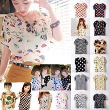 New Womens Summer Bird Print Heart Design  Geometric Polka Dot Cute Loose Chiffon Short Sleeve Top Blouse T-shirt
