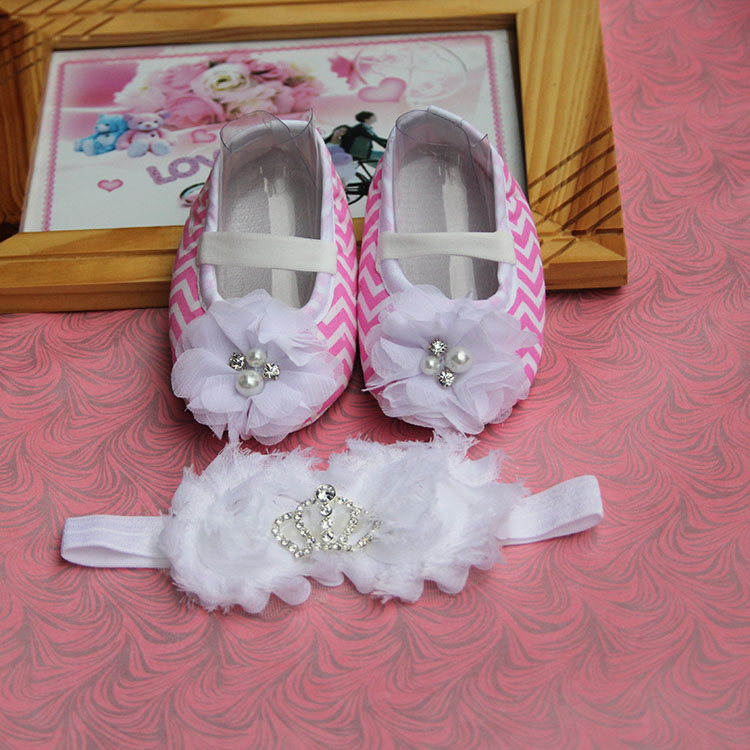 free-shipping 2015 brand newborn baby infant girls,Shoes Baby Headband set flowers baby shoes for 1 year old girl(China (Mainland))