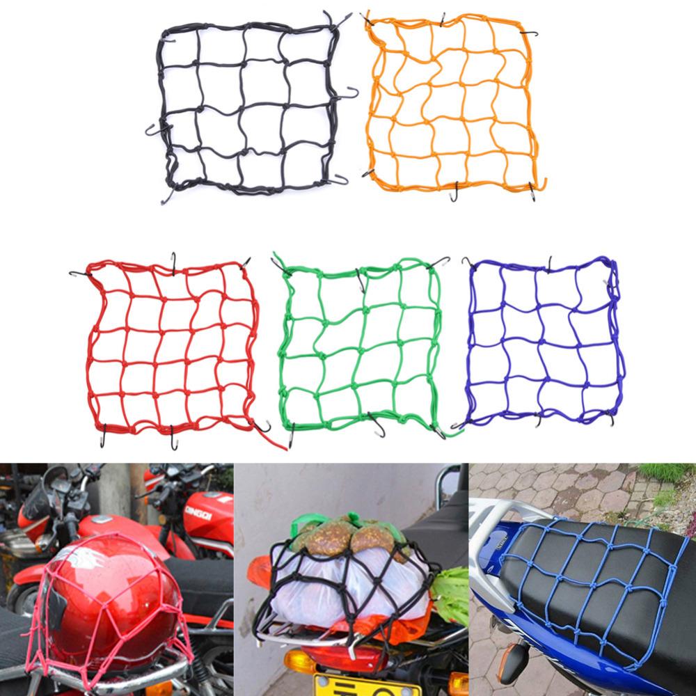 High quality Motorcycle Bike 6 Hooks Hold Black Helmet Mesh Fuel Tank Luggage Net Mesh Motorcycle Accessories