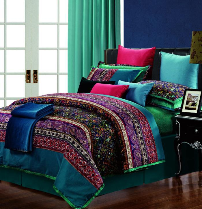 luxury egyptian cotton praisley bedding set king size queen quilt duvet cover bed in a bag. Black Bedroom Furniture Sets. Home Design Ideas