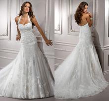 2015 robe De Noiva Sexy halter robe avec appliques De l'épaule en dentelle a-ligne De haute qualité De mariée robes De mariée robes(China (Mainland))