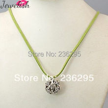 Fashion Tibeten Style Necklaces,  with Faux Suede Cord and Alloy Lobster Claw Clasps,  YellowGreen,  730mm(China (Mainland))
