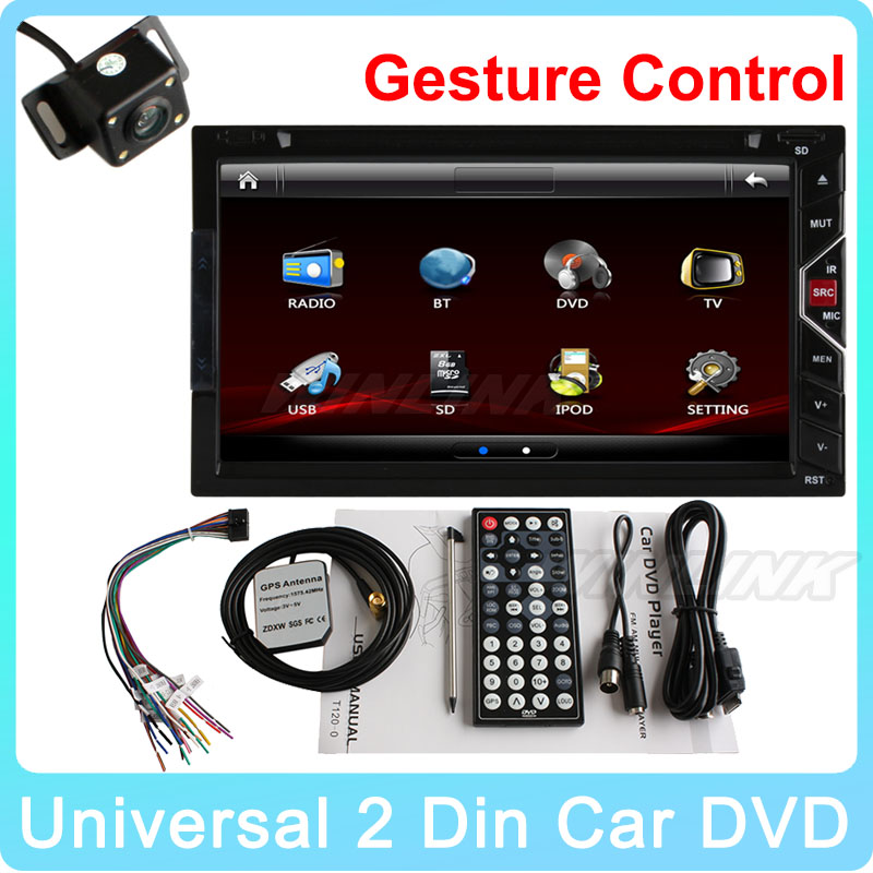"Hot Gesture Control 7"" HD Digital Touch Screen 2 DIN universal Car DVD Player with GPS Navigation BT Ipod SD Radio Video Player(China (Mainland))"