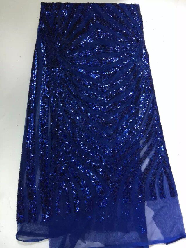 High Quality african dress french net lace fabric Voile Guipure tulle mesh Lace Fabric with sequins For dress blue MJKY262-4
