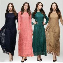 L'arrivée de nouveaux islamique musulmane dentelle robes pour femmes 2015 longues maxi robes malaisie Abayas à dubaï turque dames vêtements(China (Mainland))