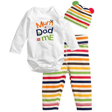 2016 New Cotton Children Casual Cartoon Baby Boys Girls Sets Clothes 3pcs(Long-Sleeved Romper+Hat+Pants) baby boy clothes(China (Mainland))