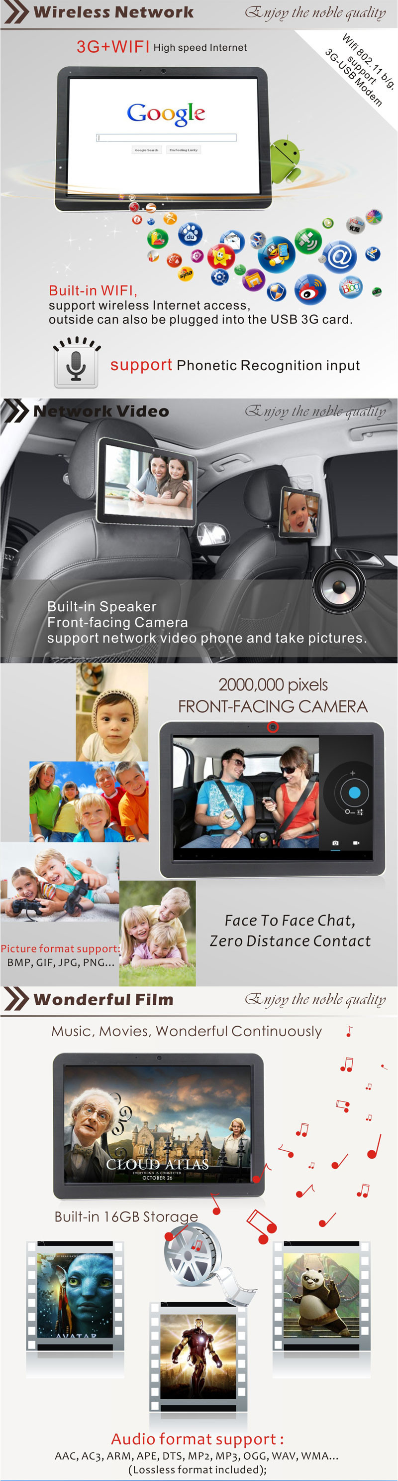 1pcs Car Seat Back Entertainment System,10.1 Inch Touch Screen Android 4.0 digital headrest tft lcd monitor