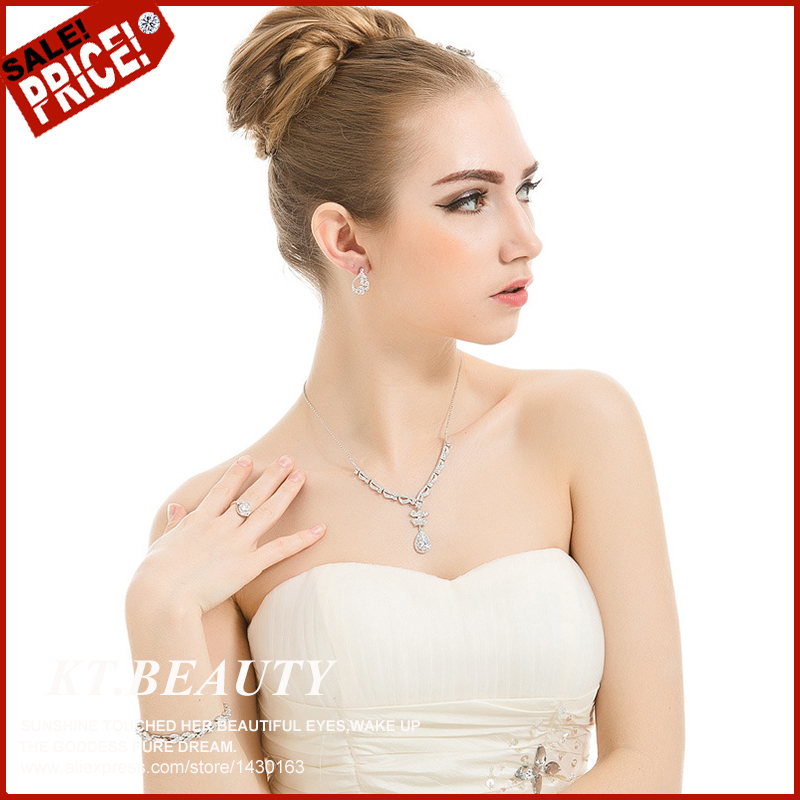 New Sliver Plated Rhinestone Crystal A+ Zircon Necklace+Earring 2Pcs Jewelry Set For Bride Bridal Wedding Fashion Necklace003(China (Mainland))