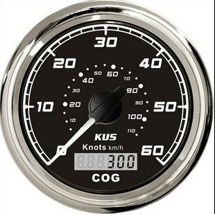 1pc high quality kus boat gps speedometers 60knots auto tachometers with gps antenna black color(China (Mainland))