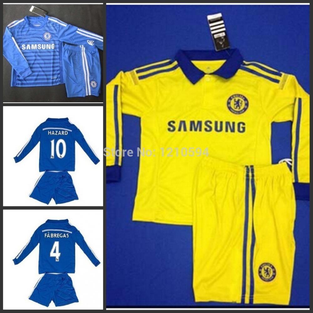 2015 Chelsea kids long sleeve Home/away Soccer Jersey set 14-15 New Eden Hazard FABREGAS Youth Football uniforms as gift(China (Mainland))