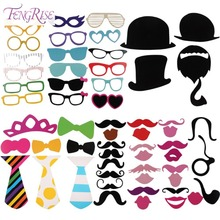 Buy FENGRISE Fun 58 pcs Photo Booth Happy Birthday Prop DIY Mr Mrs Glasses Mask Party Accessories Photography Kid Wedding Decoration for $1.49 in AliExpress store