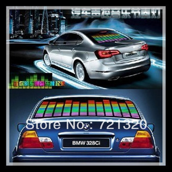 45 cm *11 cm Sound Music Activated EL Sheet Car Stickers Equalizer Glow Flash Panel Multi Color Light Flashing Accessories
