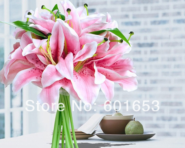 11 heads/lot Hand stick flowers bride rod flower decoration for wedding Lily decoration hand flower(China (Mainland))