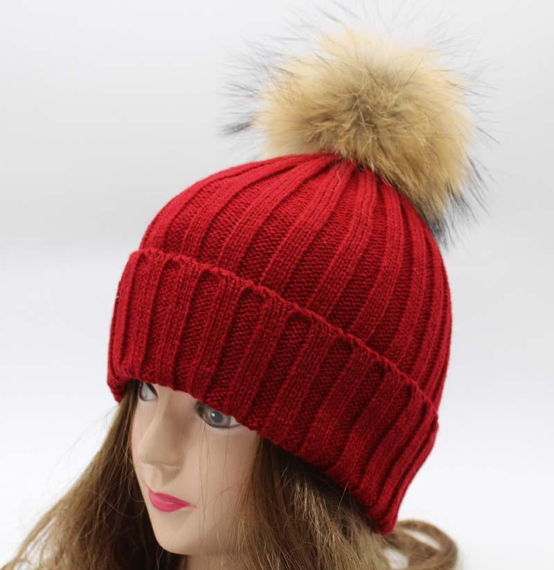 Unisex Soft Knitted Cap Raccoon Fur Ball Lady Beanie Hat Women Men Casual 15cm Raccoon Fur PomPoms Hats Girl Bonnet Good Gift(China (Mainland))