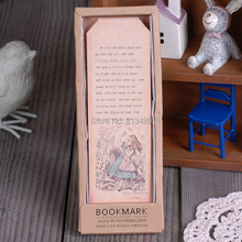 18 sheets Vintage Series Bookmark Alice in Wonderland paper bookmarks Book holder material escolar papelaria book marks m4186(China (Mainland))