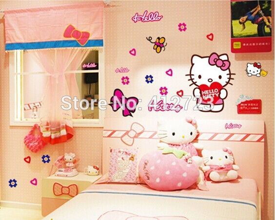Decor Cute Hello Kitty Wall Art Stickers Removable Children Bathroom ...
