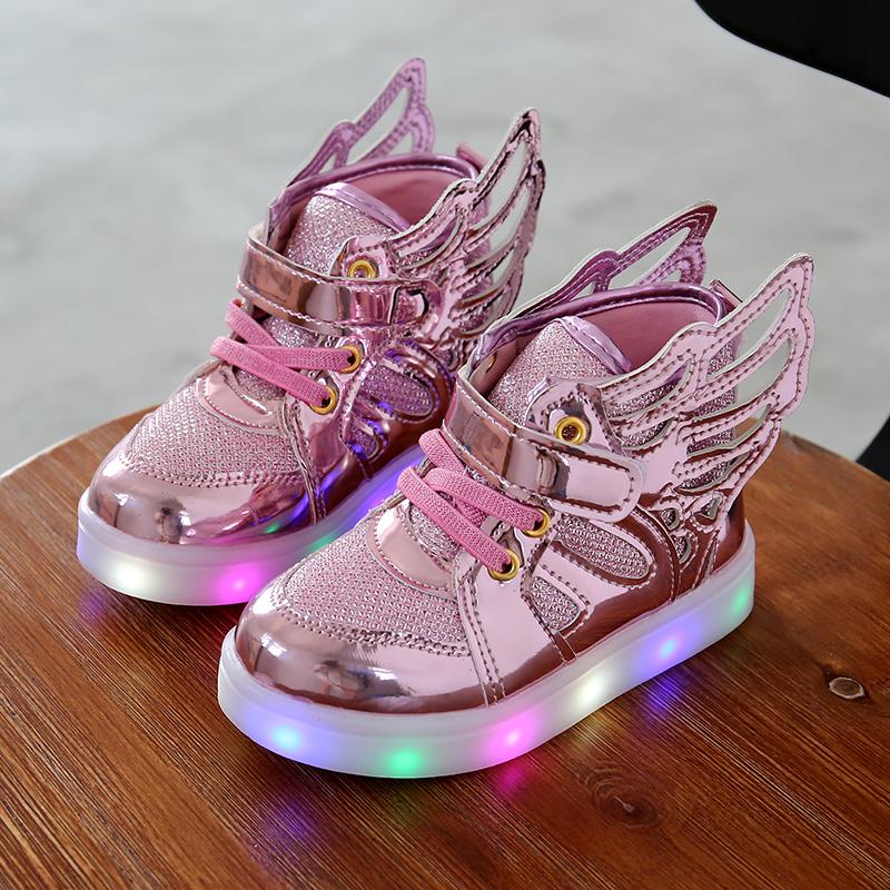 Children Flashing light-emitting Boys' Girls' Winged Sports Student School LED Shoes Autumn Casual For Feet Length 12-17cm(China (Mainland))