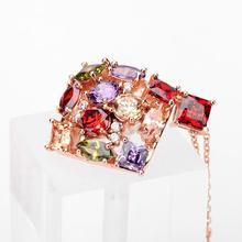 Teemi New Fashion Women Square Colorful Zircon Pendant Necklace 18K Rose Gold Plated Women Anniversary Jewelry
