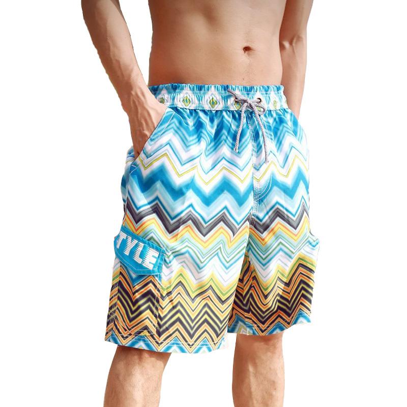2016 New Summer Men Beach Shorts Color Wave Print Surf Boardshort Outdoor Sports Quick Dry Elastic Board Pocket - Romantic Beachwear store