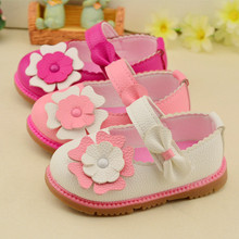 2016 female baby shoes girls shoes soft bottom baby  lovely flowers shoes 11-13cm(China (Mainland))