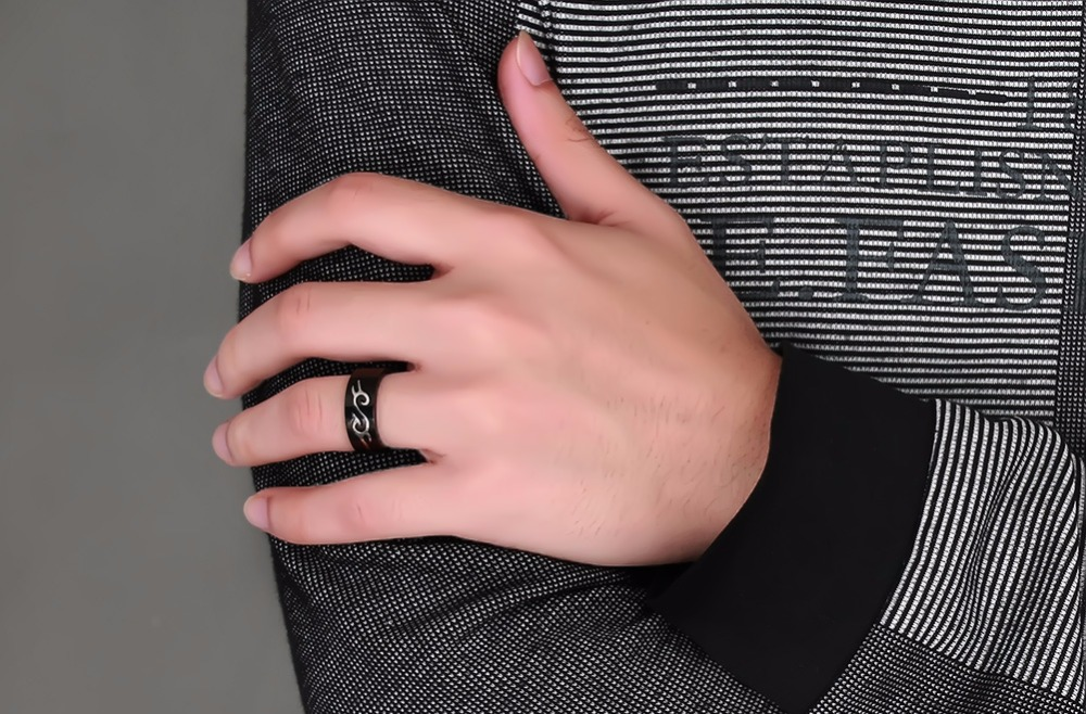 Boys Mens Rings Stainless Steel Detachable Fire Totem Ring Wedding Bands Black Silver-color Elegant Men Fashion Jewelry 110