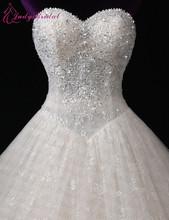 100% muestra Real del cordón del Vestido de boda 2015 nuevo diseño Vestido de bola que rebordea por encargo Vestido de Noiva China tienda en línea(China (Mainland))