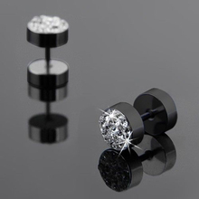 1Pair Trendy Round Stainless Steel Crystal Rhinestone Stud Earrings For Men Black/Silver Men Barbell Punk Ear Studs(China (Mainland))
